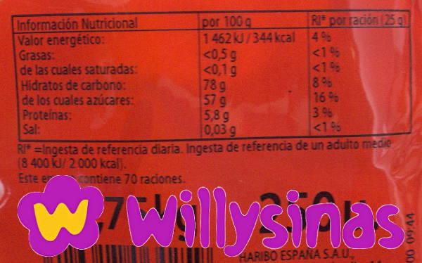 Informacion Nutricional del Corazon Fresa Nata Brillo de Haribo