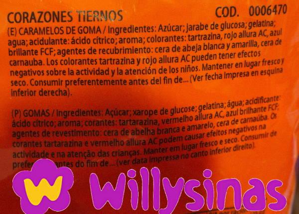 Ingredientes de los Corazones Tiernos de Haribo