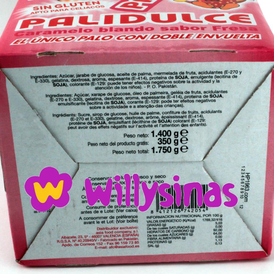Ingredientes y valores nutricionales de los Palidulces