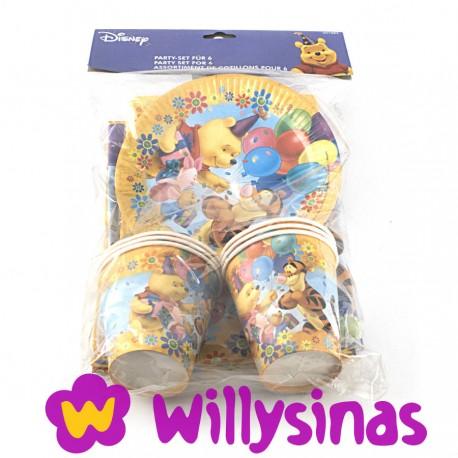 Set de platos, vasos, servilletas y mantel de Winnie The Pooh y sus amigos en la fiesta de Globos