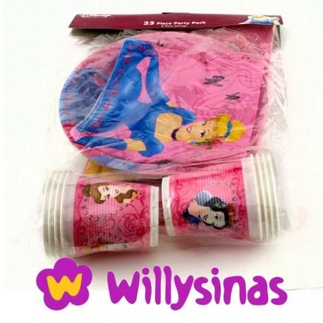 Platos, vasos, servilletas y mantel de Cinderella y las Princesas Disney
