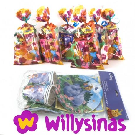Pack de menaje de winnie the pooh y elefun con bolsas de golosinas