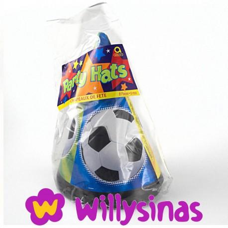 Gorros de cono para fiestas de futbol.