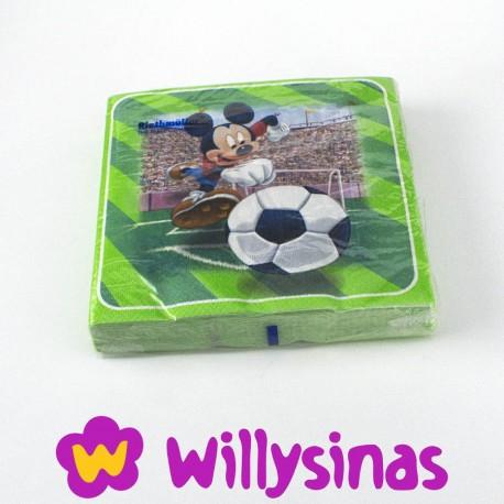 Servilletas de papel de Mickey Mouse jugando al futbol