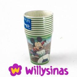 Vasos para fiesta infantil de carton plastificado con Mickey Mouse futbolista