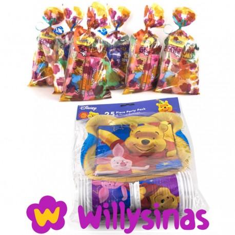 Pack de menaje de winnie the pooh y su amigo Pidgy con 8 bolsas de golosinas