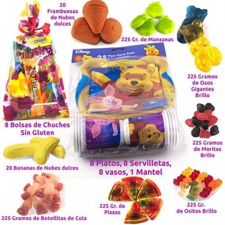 Combo de menaje de Winnie bolsas de chuches y surtido de golosinas